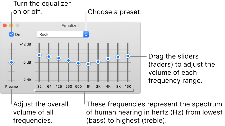 The Equalizer window: The checkbox to turn on the Music equalizer is in the top-left corner. Next to it is the pop-up menu with the equalizer presets. On the far left side, adjust the overall volume of frequencies with the preamp. Below the equalizer presets, adjust the sound level of different frequency ranges, which represent the spectrum of human hearing from lowest to highest.