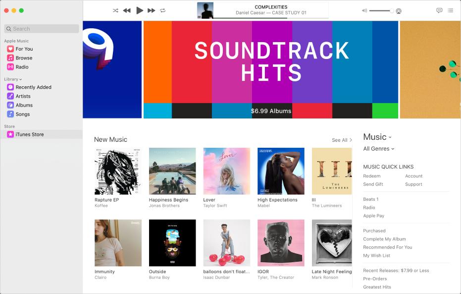Het hoofdvenster van de iTunesStore: 'iTunesStore' is gemarkeerd in de navigatiekolom.