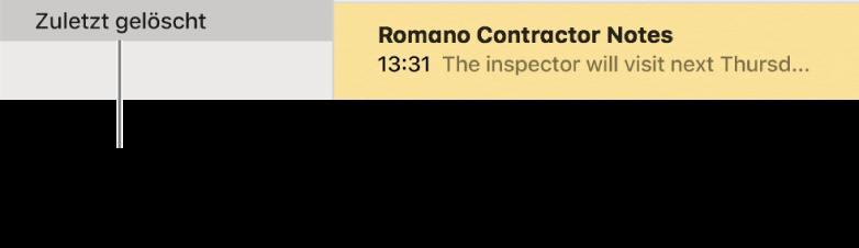 """Das Fenster """"Notizen"""" mit dem Ordner """"Zuletzt gelöscht"""" in der Seitenleiste und einer zuletzt gelöschten Notiz Du siehst den Ordner """"Zuletzt gelöscht"""" nur, wenn du iCloud-Notizen oder Notizen auf deinem Mac verwendest."""