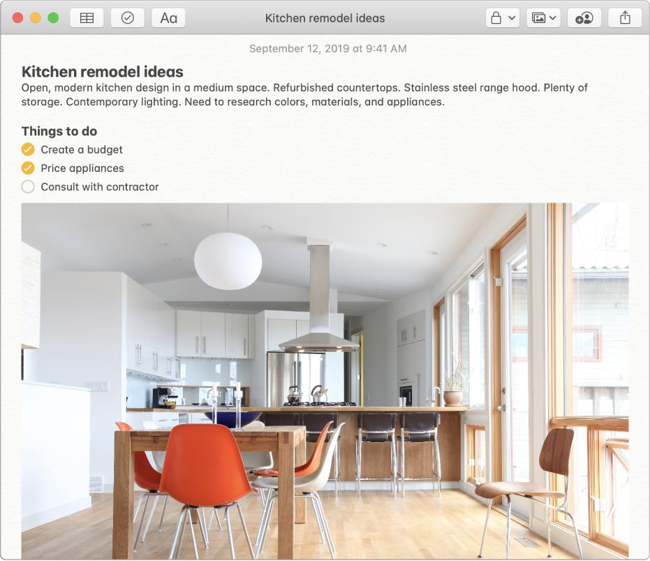 Eine Notiz mit einer Ideenbeschreibung zur Umgestaltung einer Küche, einer Checkliste der auszuführenden Arbeiten und dem Foto einer Küche.