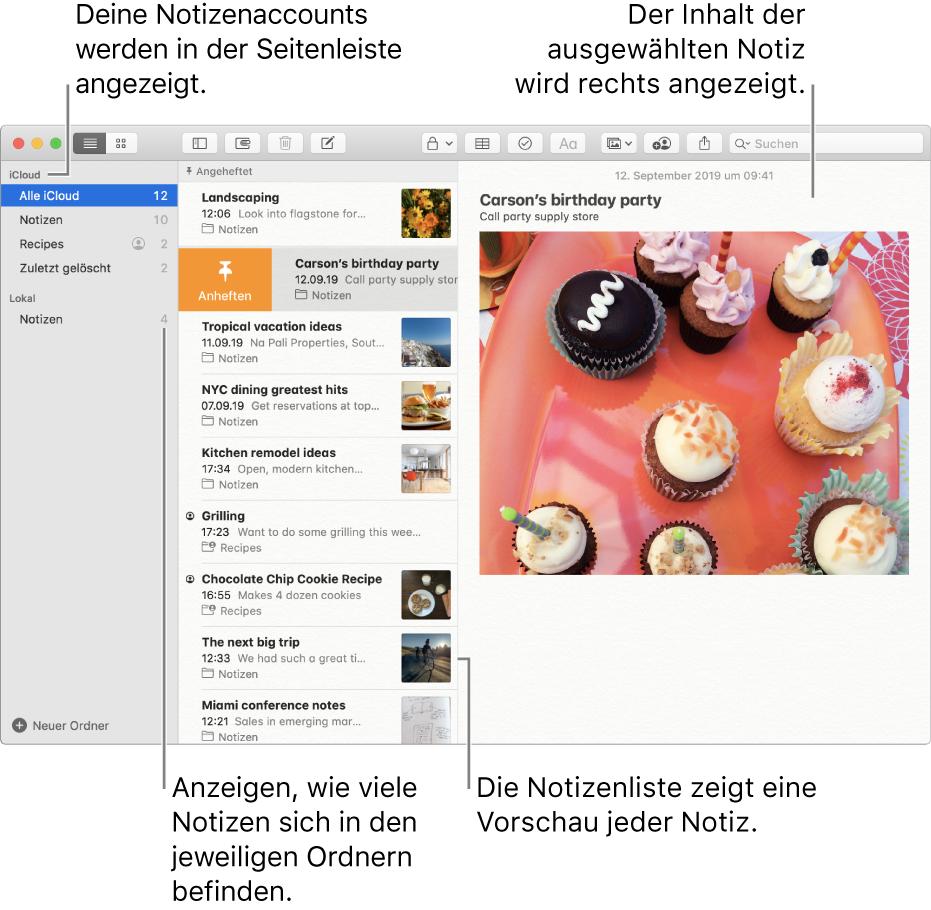 """Das Fenster der App """"Notizen"""" mit allen konfigurierten Accounts und Ordnern in der Seitenleiste links, mit einer Liste von Notizen inklusive einer Vorschau jeder Notiz in der Mitte und dem Inhalt der aktuell ausgewählten Notiz rechts. Neben jedem Ordner wird die Anzahl der darin enthaltenen Notizen angezeigt."""
