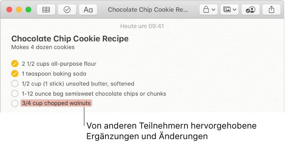 Eine Notiz mit einem Rezept für Schokoladenkekse. Zusätze von anderen Teilnehmern sind rot hervorgehoben.