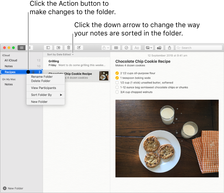 The Notes window with one folder in the sidebar showing the More button where you can make changes to a folder. Above the list of notes in the middle is the sort option, which changes the order of the notes — click the down arrow to select a different sorting order.