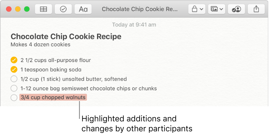 A note with a chocolate chip cookie recipe. Additions from another participant are highlighted in red.