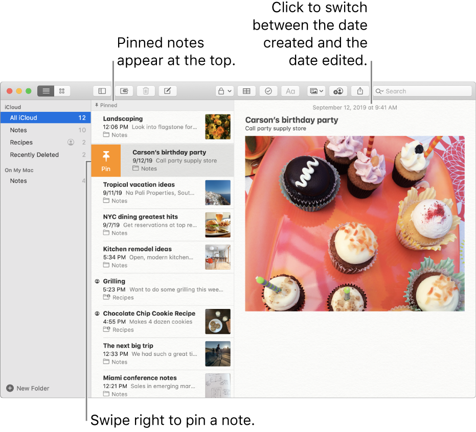 The Notes window with the list of notes in the middle, pinned notes at the top of the notes list, and the Pin button on one note. The content of that note appears on the right with the date at the top; click the date to switch between the date created and the date edited.