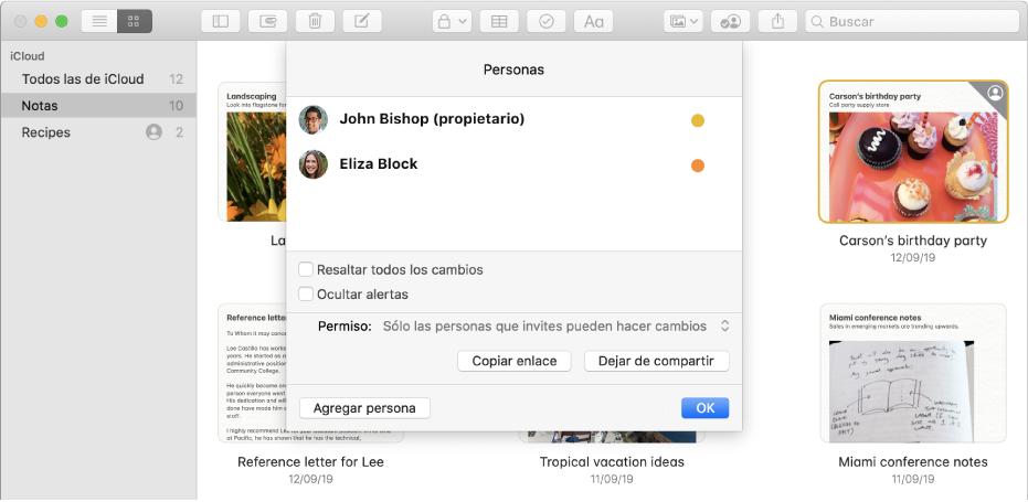 """Las notas en la visualización como galería después de haber hecho clic en el botón """"Ver participantes"""" de una nota en la barra de herramientas. Ves una lista de las personas agregadas a la nota y las opciones disponibles."""