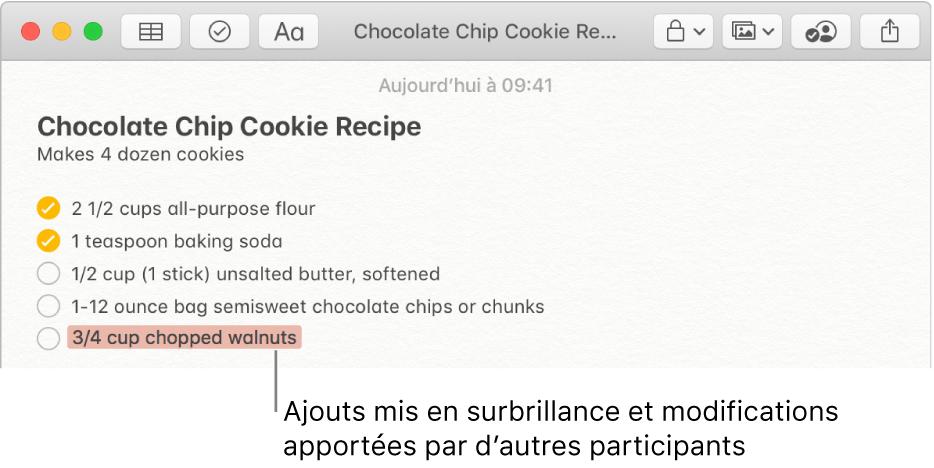 Une note contenant une recette de cookies aux pépites de chocolat. Les ajouts des autres participants sont indiqués en rouge.