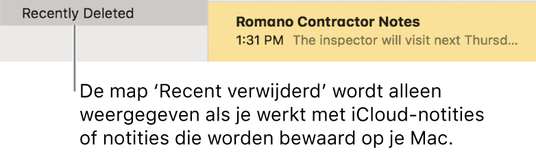 Het Notities-venster met de map 'Recent verwijderd' in de navigatiekolom en een recent verwijderde notitie. Je ziet de map 'Recent verwijderd' alleen als je werkt met iCloud-notities of notities op je Mac.