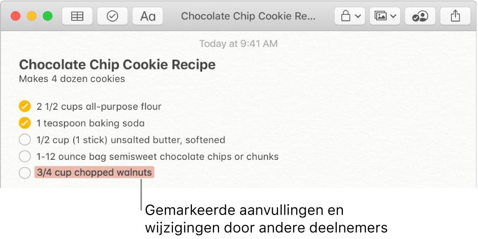 Een notitie met een recept voor chocoladekoekjes. Toevoegingen van een andere deelnemer zijn rood gemarkeerd.