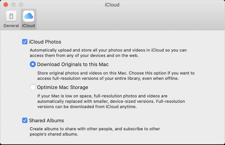 El tauler iCloud de les preferències de l'app Fotos.