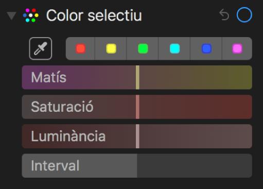 """Els controls """"Color selectiu"""" amb els reguladors Matís, Saturació, Luminància i Interval."""