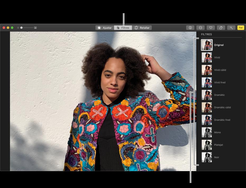 La foto en la vista d'edició amb els filtres visibles a la dreta.