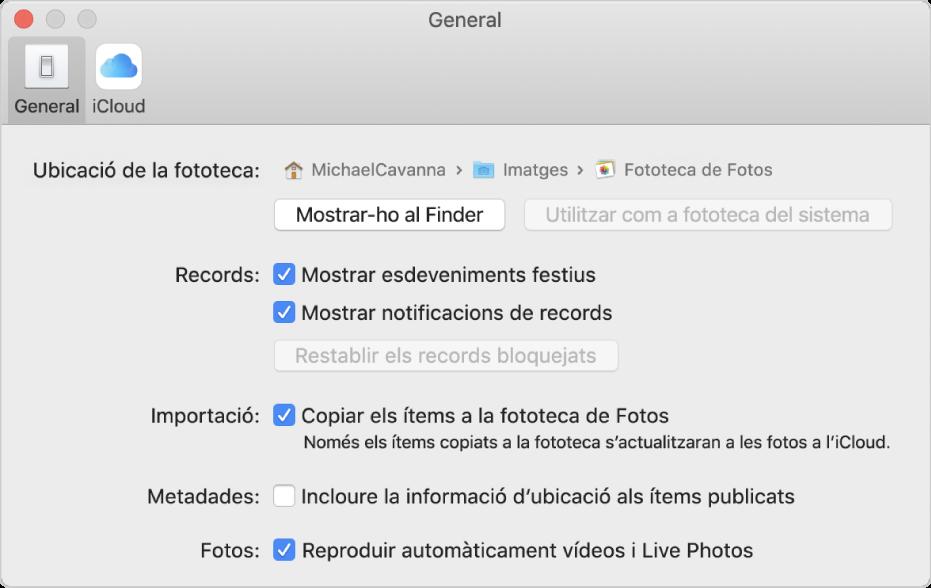 El tauler General de les preferències de l'app Fotos.