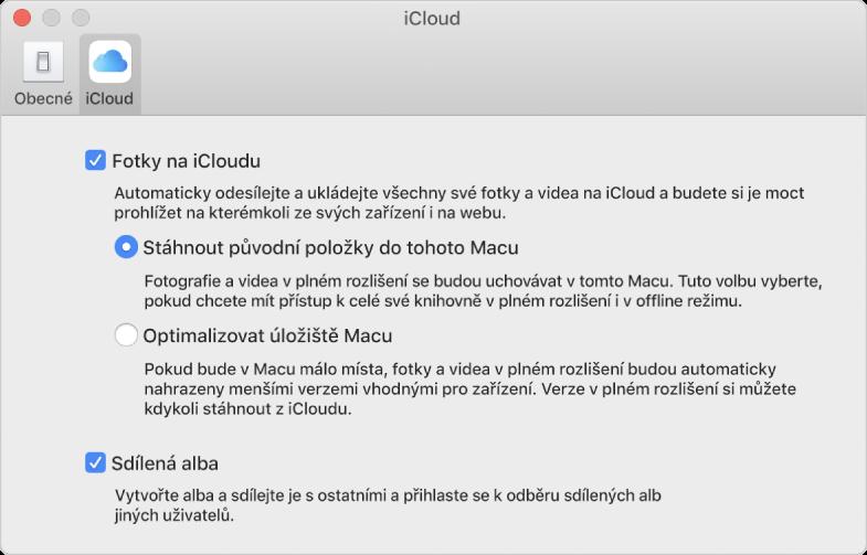 Panel iCloud vpředvolbách Fotek