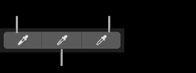 Drei Pipetten, die zur Auswahl von Schwarzpunkt, Mitteltönen und Weißpunkt des Foto verwendet werden