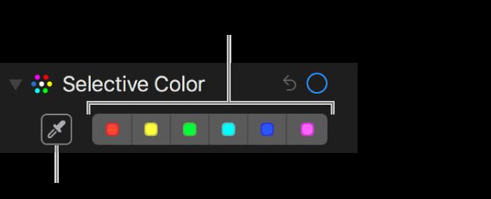 """Die Steuerungen für die selektive Farbkorrektur mit der Taste """"Pipette"""" und den Farbfeldern."""