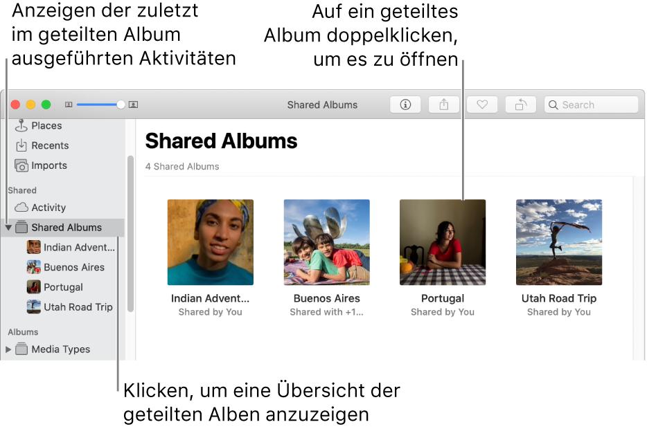 """Der Bereich """"Geteilt"""" im Fenster """"Fotos"""" mit geteilten Alben"""