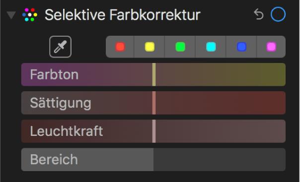 Die Steuerungen für die selektive Farbkorrektur mit den Reglern für Farbton, Sättigung, Leuchtkraft und Bereich.