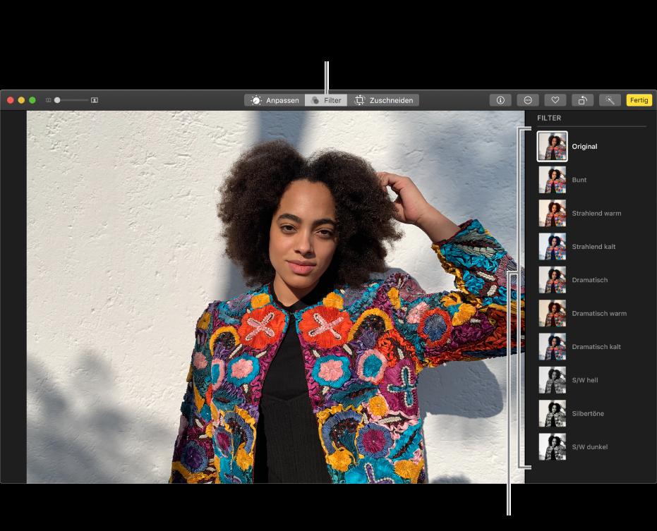 Ein Foto in der Bearbeitungsansicht mit Filtern rechts.
