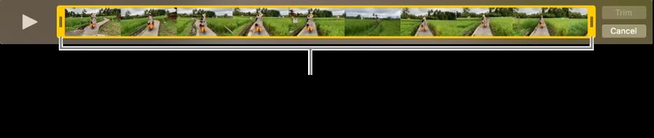 Κίτρινες λαβές περικοπής σε βιντεοκλίπ.