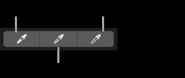 Τρία σταγονόμετρα που χρησιμοποιούνται για την επιλογή του μαύρου σημείου, των ενδιάμεσων τόνων και του λευκού σημείου της φωτογραφίας.