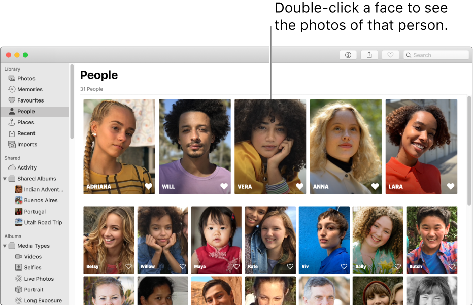 Faces in the People album.