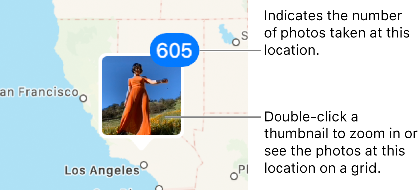 Thumbnails of photos located on a map.