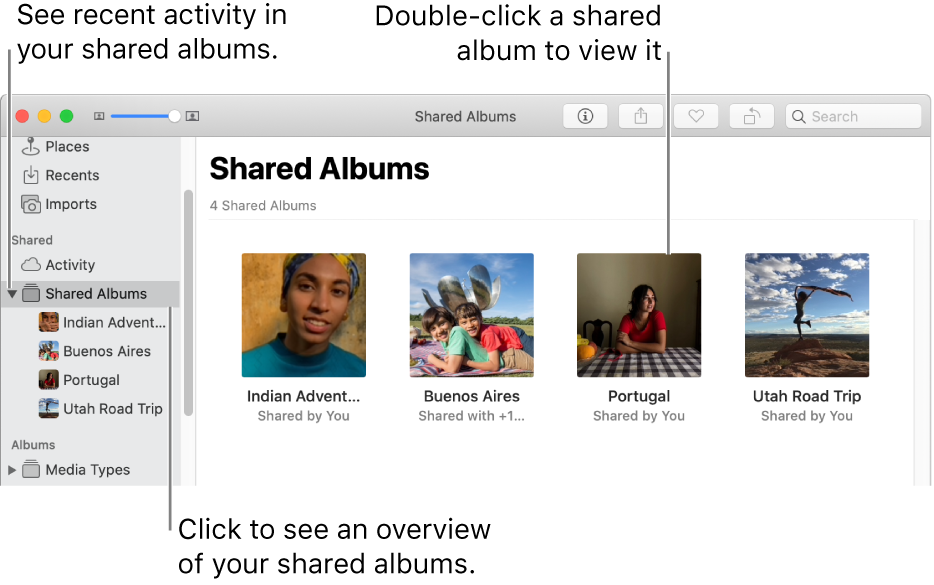 The Shared Albums pane of the Photos window, showing shared albums.