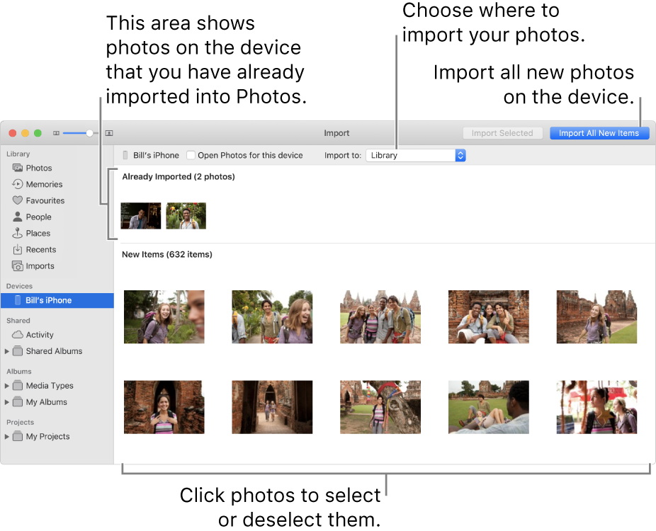 """Photos on the device that you've already imported are shown at the top of the pane; new photos are at the bottom. At the top centre is the """"Import to"""" pop-up menu. The Import All New Photos button is in the top right corner."""