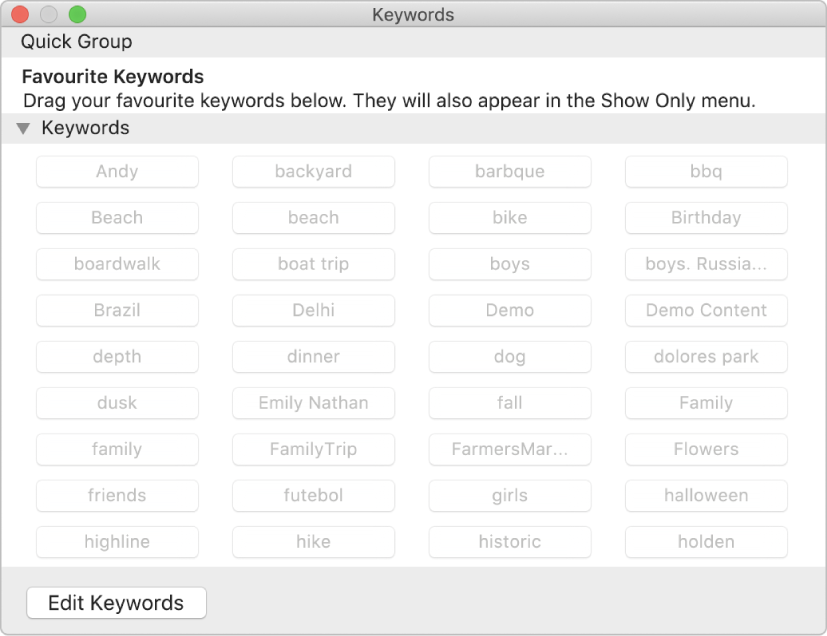 The Keyword Manager window.