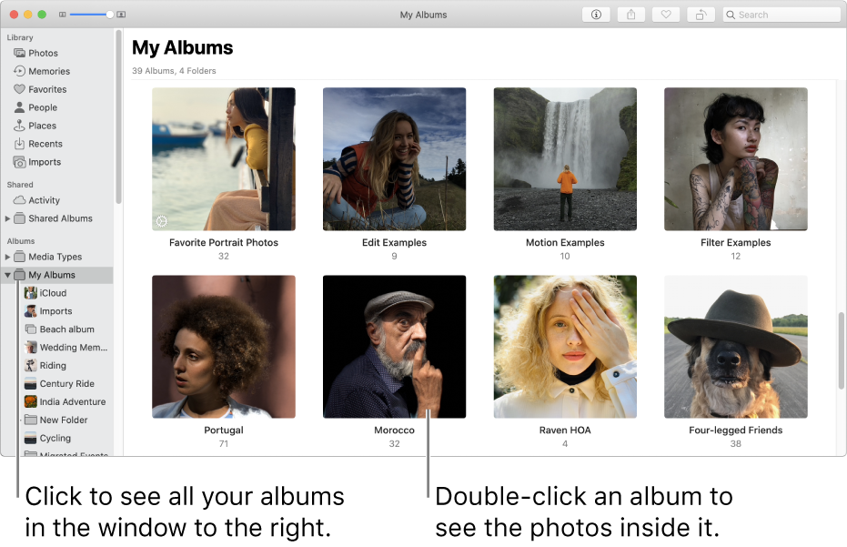 The Photos window with My Albums selected in the sidebar, and the albums you've created displayed in the window on the right.