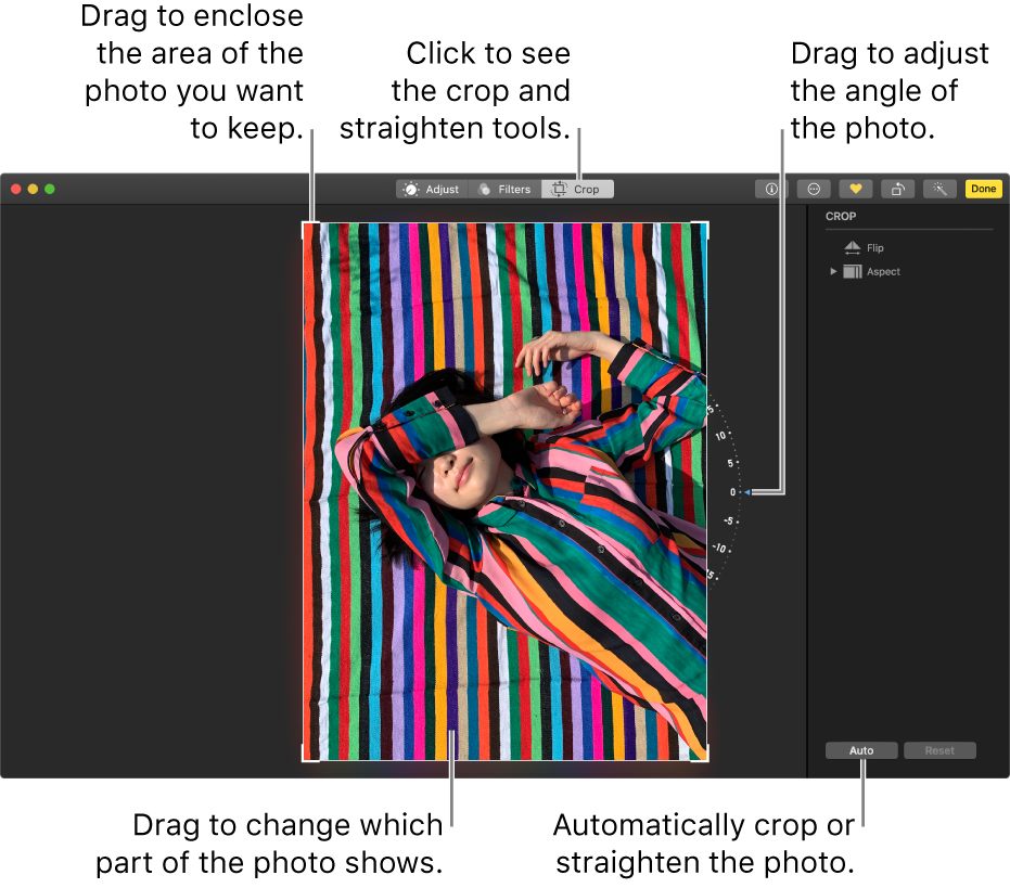 A photo in editing view showing the crop and straighten options.