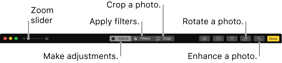 The Edit toolbar showing buttons for making adjustments, adding filters, and cropping photos.