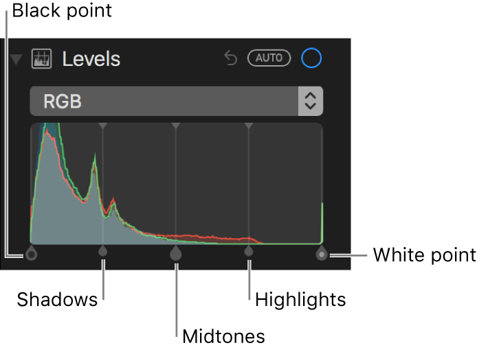 The Levels controls along the RGB histogram, including (from left to right) black point, shadows, midtones, highlights, and white point.