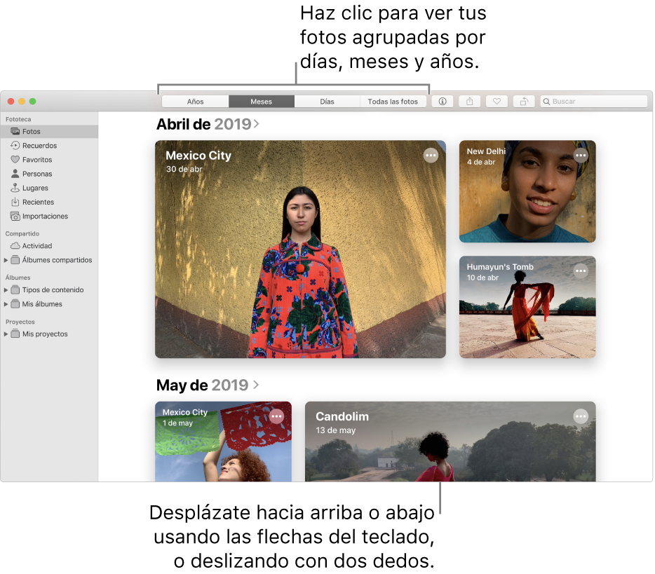 La ventana de Fotos mostrando fotos organizadas por mes.