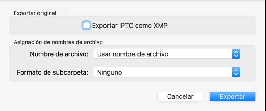 Un diálogo que muestra opciones para exportar archivos de fotos en su formato original.
