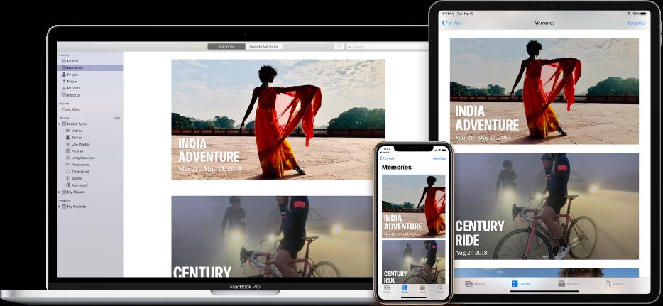 Un iPhone, una MacBook y un iPad mostrando las mismas fotos en sus pantallas.