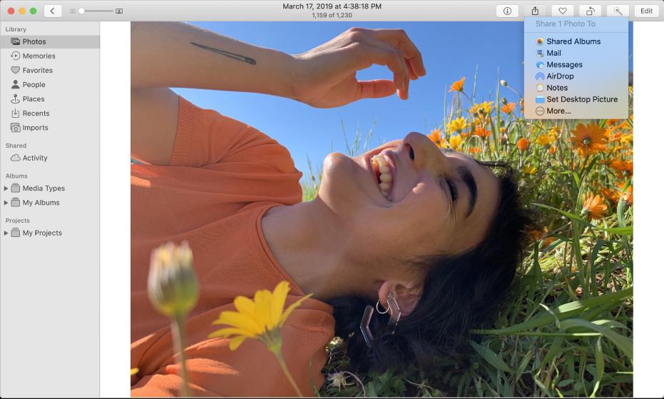 La ventana Fotos mostrando una foto y el menú Compartir con el comando Álbumes compartidos seleccionado.