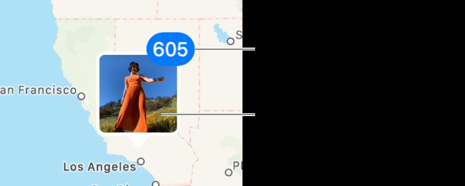 Miniaturas de fotos ubicadas en un mapa.