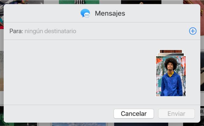 Un diálogo para agregar destinatarios al compartir fotos de la app Fotos mediante Mensajes.