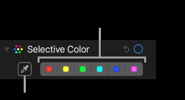 """Los controles """"Color selectivo"""" mostrando el botón Gotero y las paletas de colores."""
