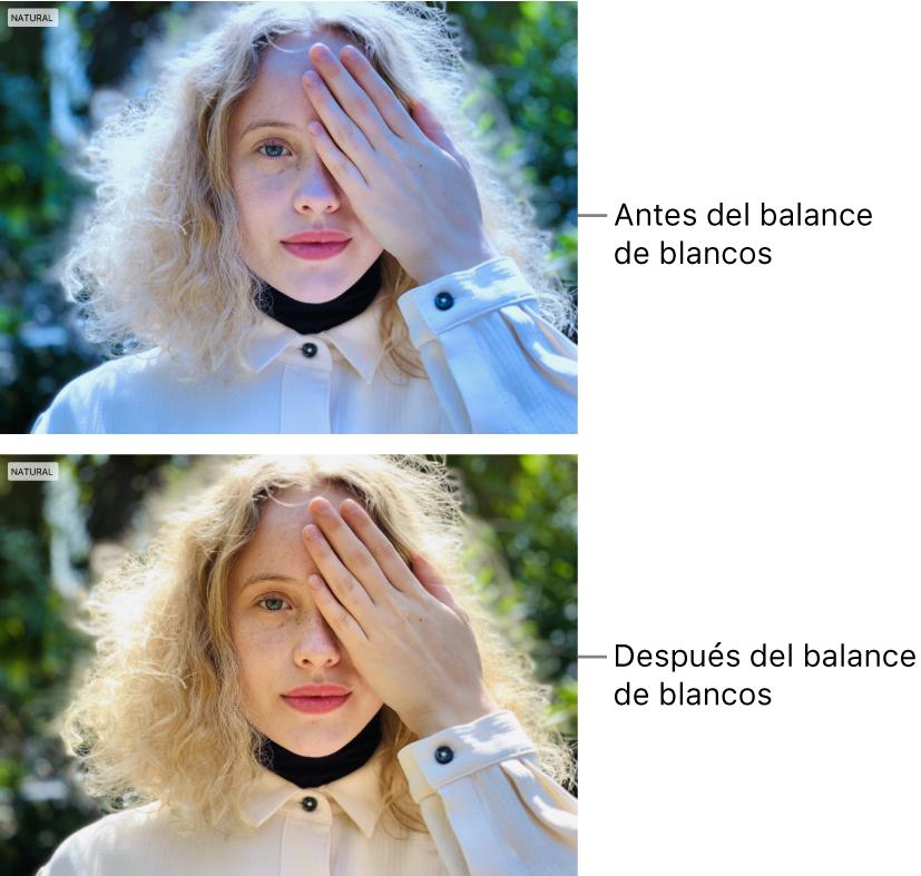 Una foto del antes y después de un ajuste de balance de blancos.