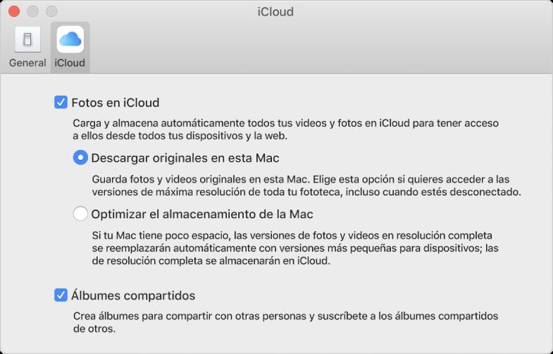 Panel iCloud de las preferencias de Fotos.