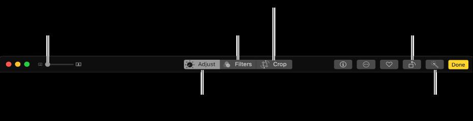 La barra de herramientas Edición con botones para realizar ajustes, añadir filtros y recortar fotos.