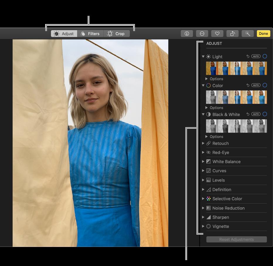 Fotografía en la vista de edición con las herramientas de edición a la derecha.