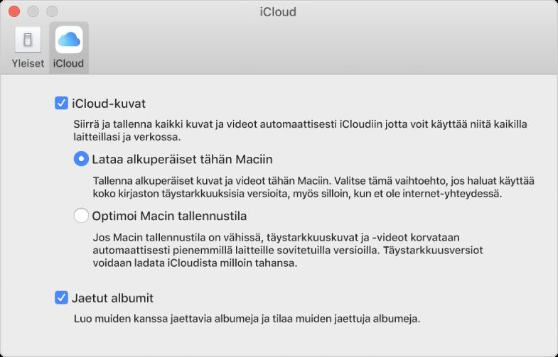 Kuvat-asetusten iCloud-osio.