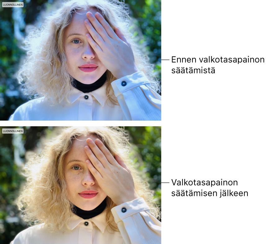 Kuva ennen ja jälkeen valkotasapainon säätöä.