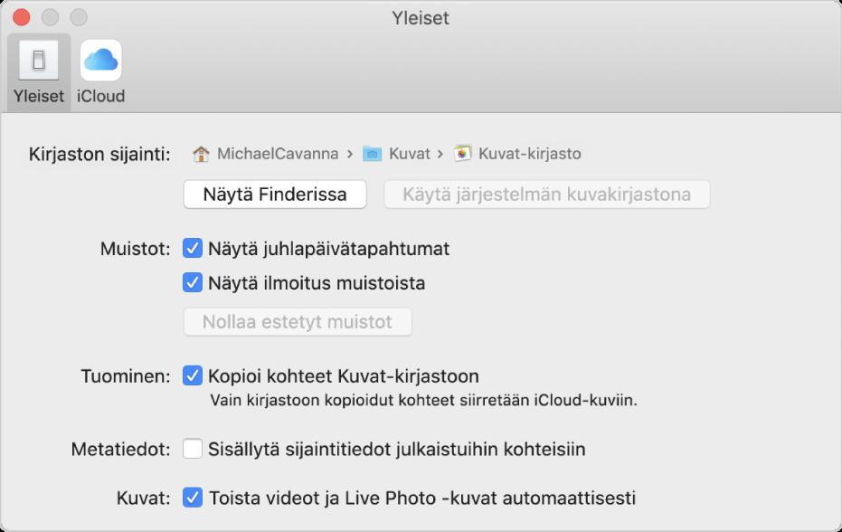 Kuvat-asetusten Yleiset-osio.