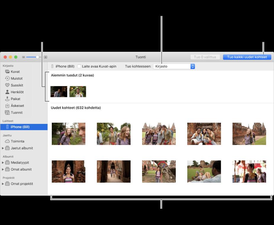 Kuvat, jotka laitteesta on jo tuotu, näkyvät paneelin yläreunassa; uudet kuvat ovat alhaalla. Ylhäällä keskellä on Tuo kohteeseen -ponnahdusvalikko. Tuo kaikki uudet kuvat -painike on yläoikealla.