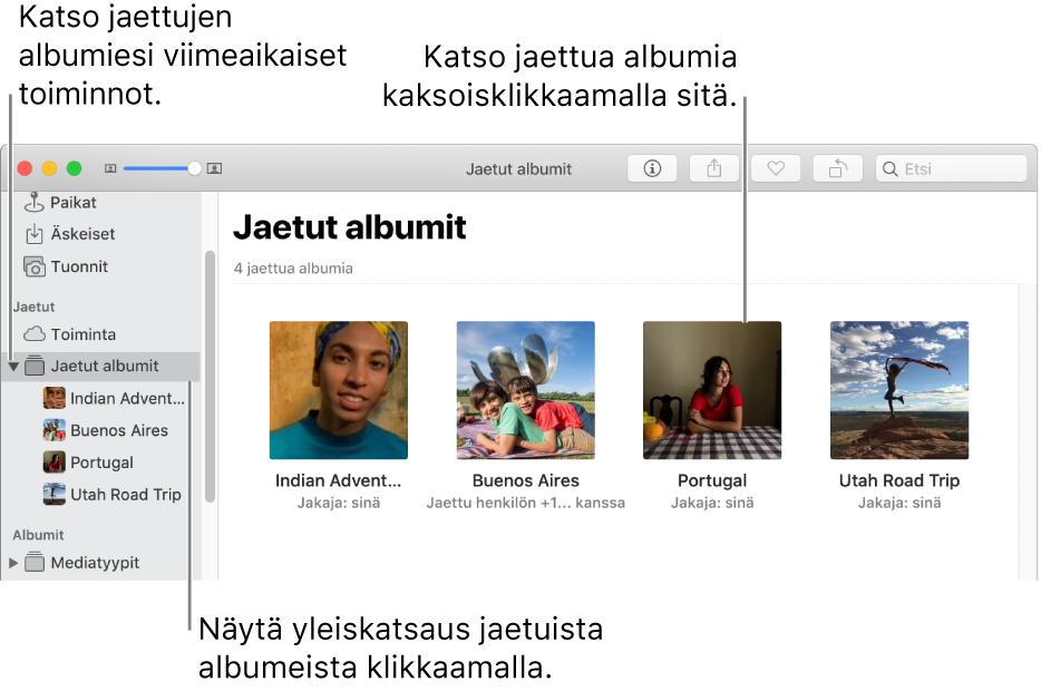 Kuvat-ikkunan Jaetut albumit -osio, jossa näkyy jaettuja albumeita.